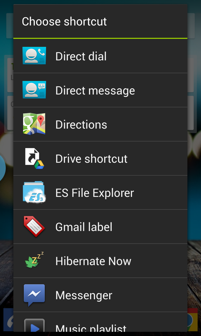 Shortcuts selection
