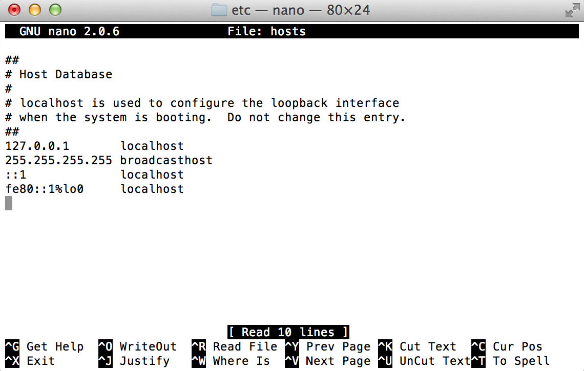 Map the IP address in the Nano text editor