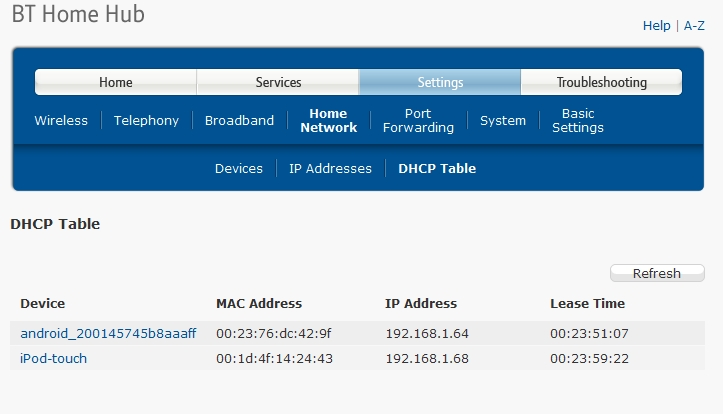 Bt Home Hub Dhcp Settings