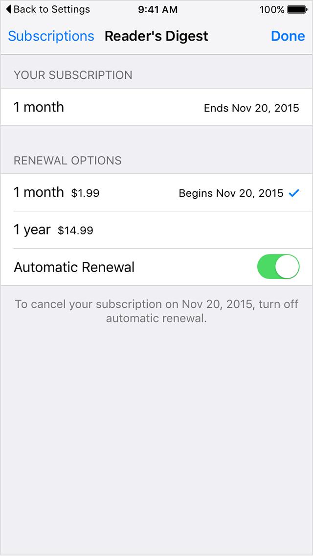 Cancel auto renewal