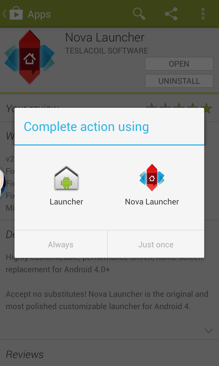 Select default action for launcher