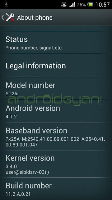 Update Xperia J to Android 4.1.2 Jelly Bean 11.2.A.0.21 Firmware Download file