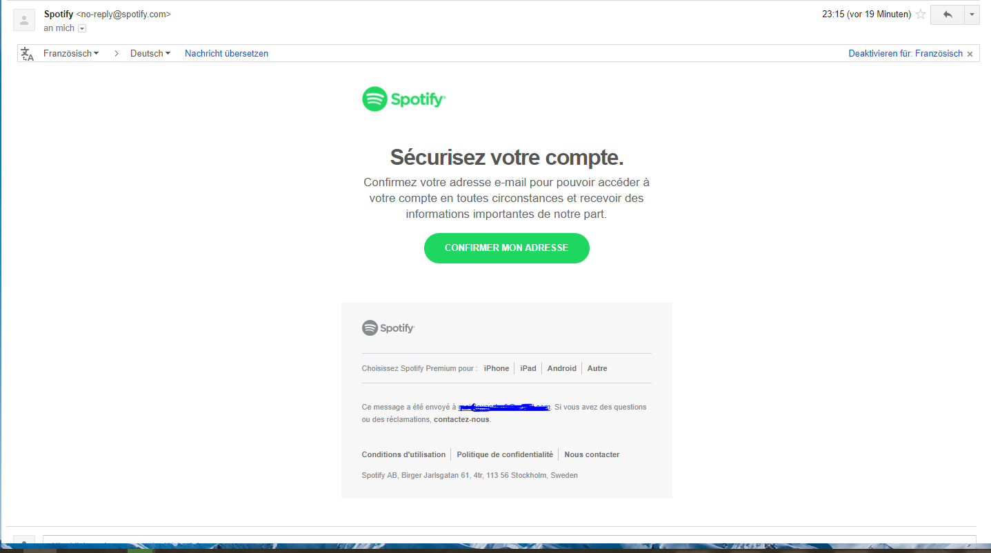how to change the email address for spotify